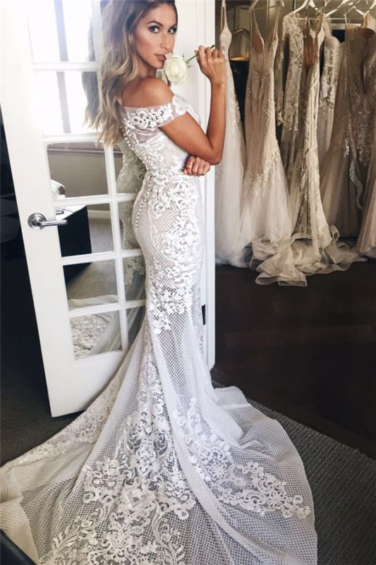 Off The Shoulder Illusion Tulle Bridal Dresses   Lace Appliques Mermaid Buttons Wedding Dresses