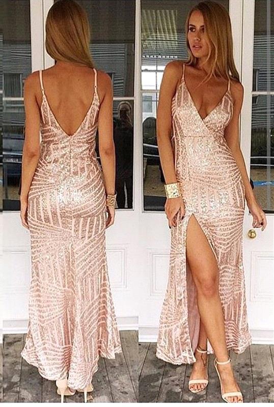 Spaghetti Straps Sexy V-neck Formal Dress Sequins Open Back Prom Dress with Split BA3044