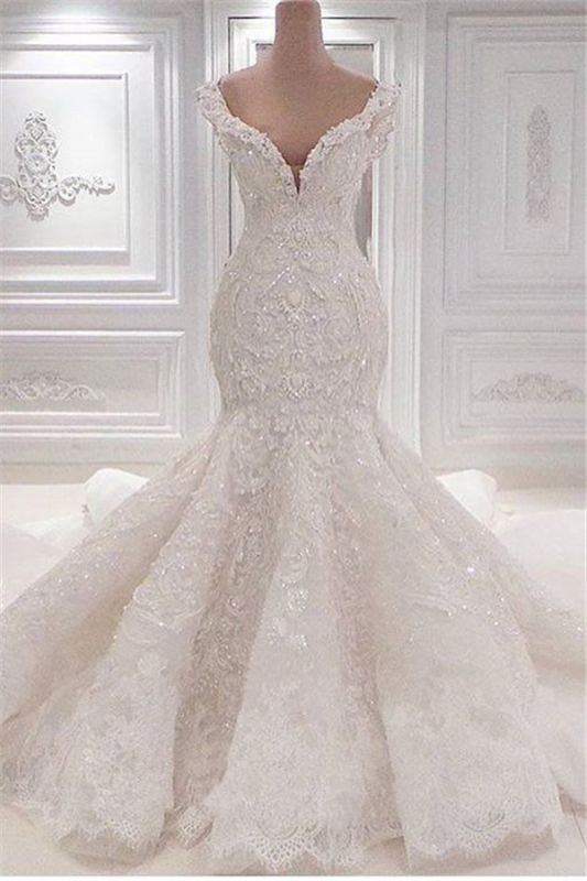New Arrival Mermaid Sleeveless Wedding Dresses Online | Elegant V-Neck Lace Crystal Bridal Gowns