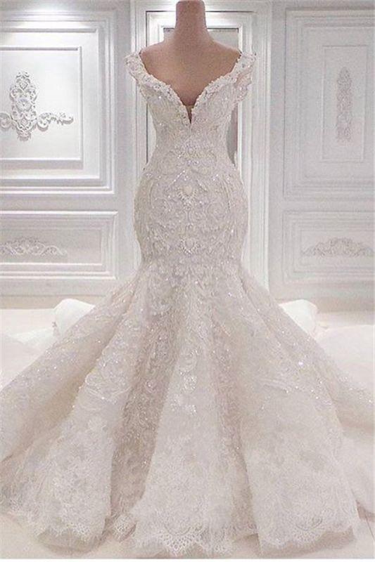 Neue Ankunft Meerjungfrau ärmellose Brautkleider Online | Elegante V-Ausschnitt Spitze Kristall Brautkleider