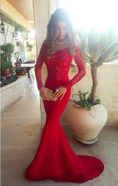 Lace ShoulderGowns the Evening Mermaid Red Sleeves Long Sexy Off Long Prom Dresses