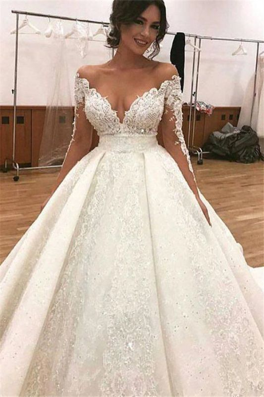 Long Sleeve Sexy Ball Gown Wedding Dresses | Sheer Tulle Lace Appliques Cheap Bridal Gowns