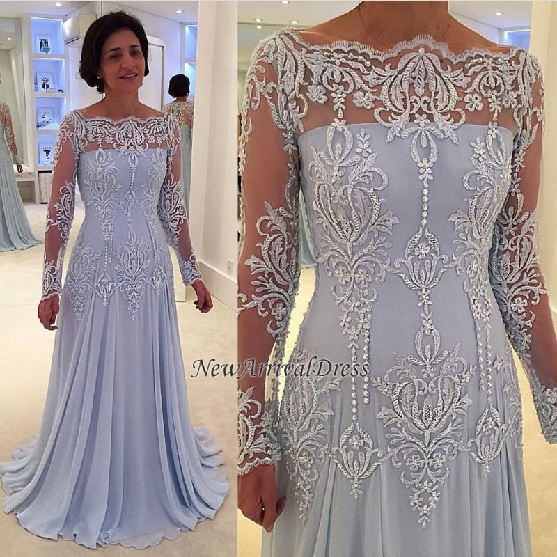A-line Elegant Lace Long-Sleeve Mother-the-bride Dress | Plus Size Prom  Dress