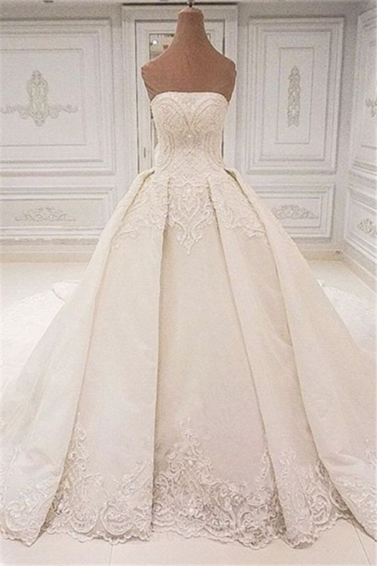 Elegant Strapless Lace Wedding Dresses 2019 | Glamorous Overskirt Bridal Ball Gowns