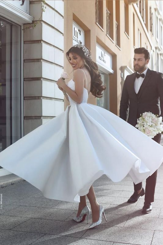 Gorgeous Spaghetti Strap New Arrival A-line Wedding Dresses   Online Bridal Gown Cheap