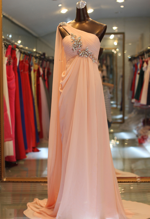 New Sweet Prom Gowns A Line One Shoulder Sweep Train Chiffon Beading Popular Evening Dresses