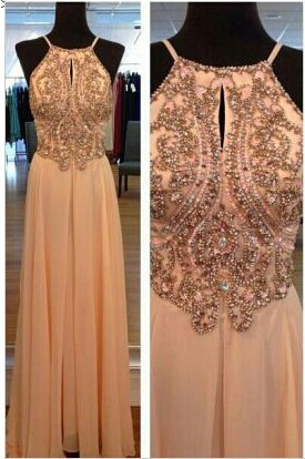 Chiffon Summer Evening Dresses Cheap Sexy Spaghetti Straps Beads A Line Prom Gowns