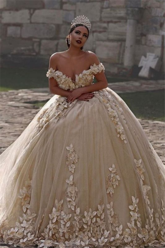 Off The Shoulder Flowers Gorgeous Wedding Dress Puffy Tulle Beaded Crystals Ball Gown Princess Bride Dress