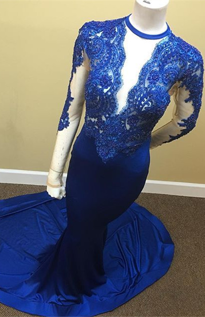 Appliques Royal Blue Sheath Sheer Tulle Lace Long Sleeve Scoop Prom Dresses Cheap