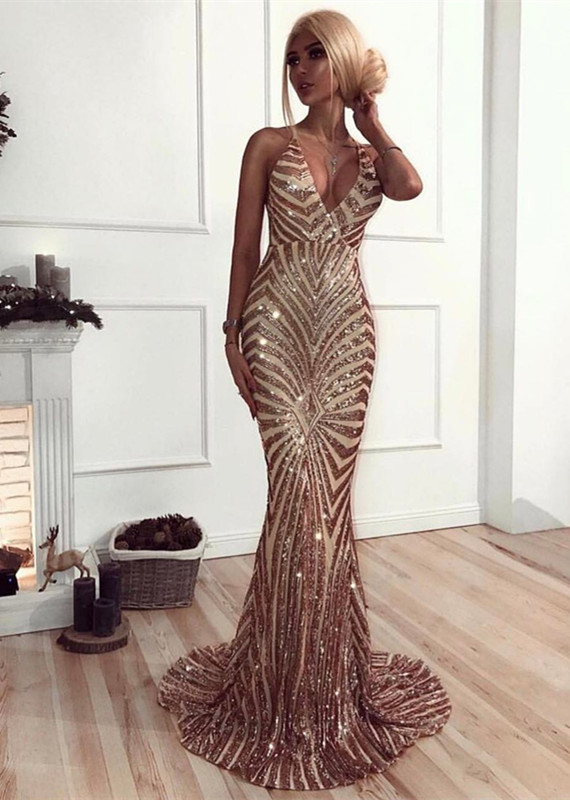 Sexy Sequined Mermaid Spaghetti Strap Prom Dress | Backless Prom Dress