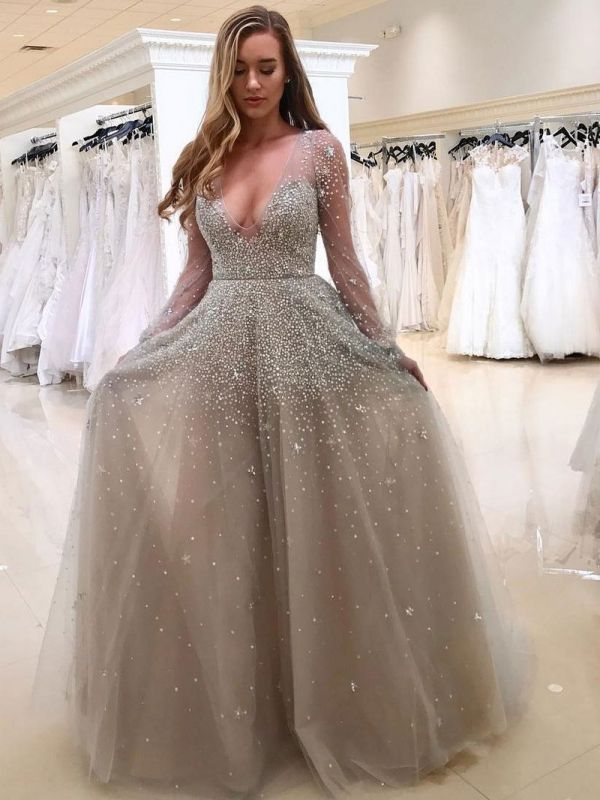 d14f1f629fb Popular Long Sleeve V-neck Beading A-line Prom Dress