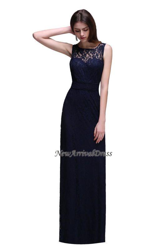 Vestidos de noche de tubo sin mangas de encaje hasta el suelo azul marino oscuro