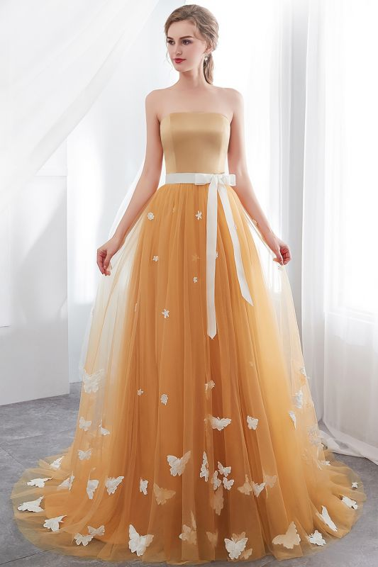Sheath Sash Fashion Gold Floor-Length Long Evening Dresses
