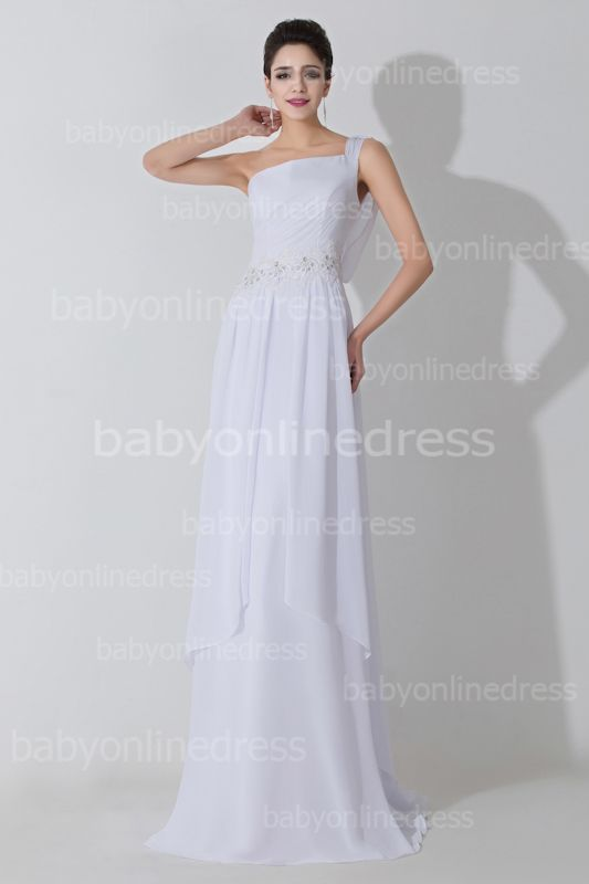 cbcf1938b White One Shoulder Chiffon Evening DressesCrystal Appliques A-Line Prom  Gowns [Item Code: BZP0479]