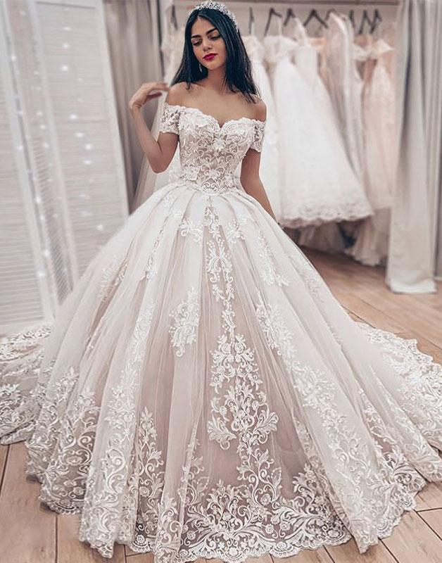 Cheap Off The Shoulder Lace Wedding Dress Cheap Puffy Tulle Ball Gown Princess Bridal Dresses Newarrivaldress Com
