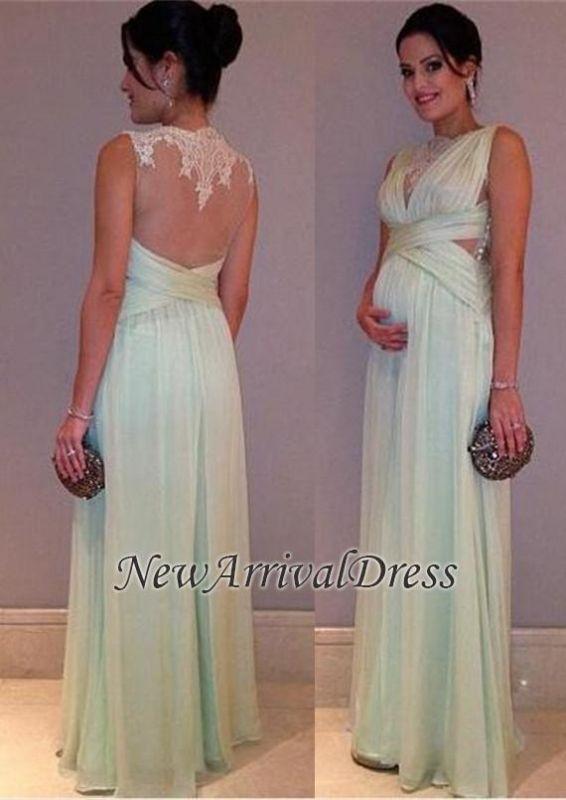 Chiffon Lace Sleeveless A-line Elegant Long Maternity Prom Dress
