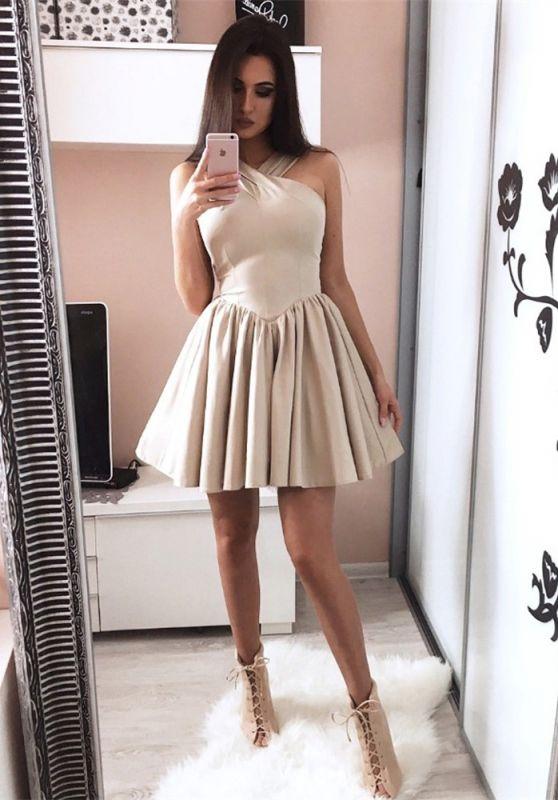 Modern Short Halter Sleeveless A-line Homecoming Dress