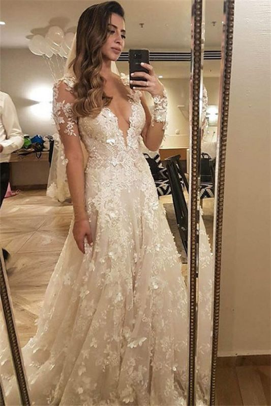 Flowers Lace Long Sleeve Wedding Dress Illusion Amazing Bride Dress