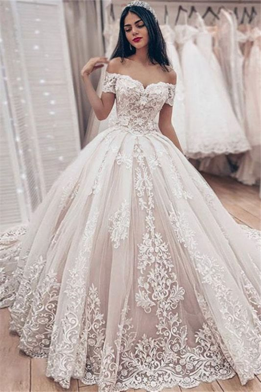 Cheap Off The Shoulder Lace Wedding Dress Cheap | Puffy Tulle Ball Gown Princess Bridal Dresses