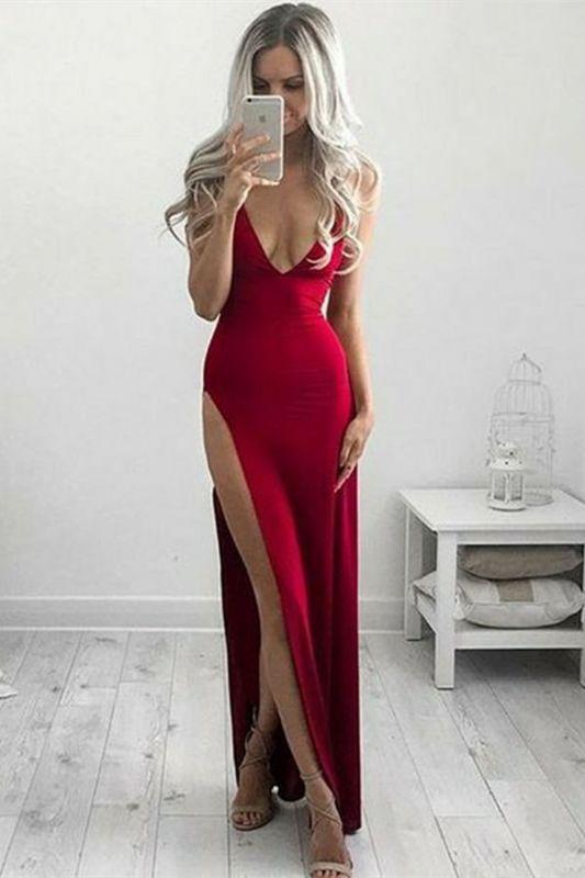 Deep V-neck Long Cheap Formal Dresses   Side Split Sexy Formal Gown Online