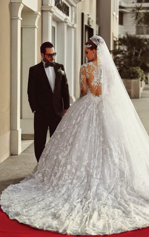 Long Sleeve Ball Gown Wedding Dress Cheap Court Train Custom Made Bridal Gowns