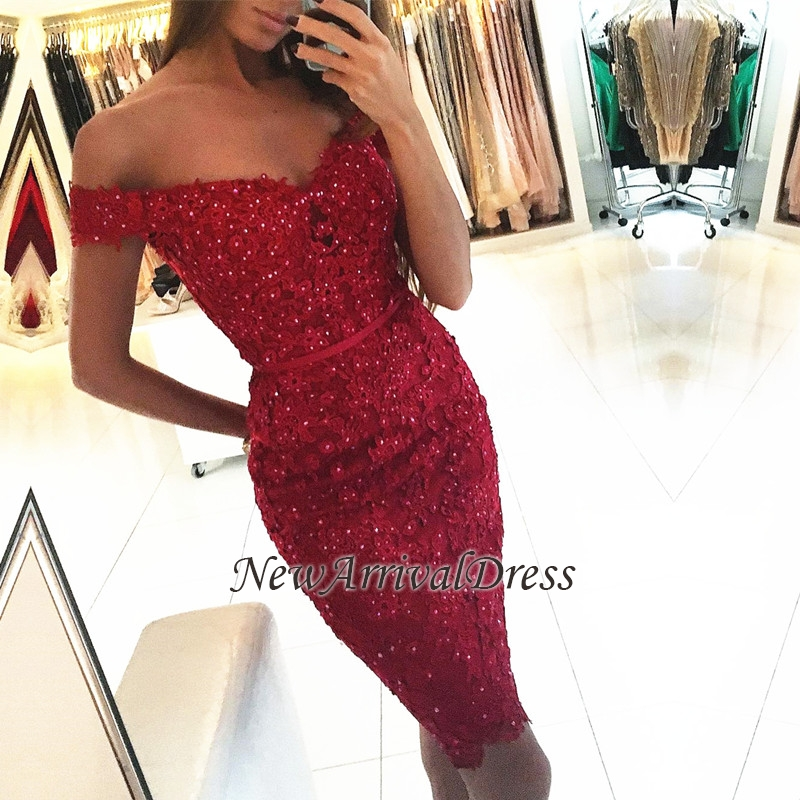 Off-the-Shoulder Sexy Sheath Short Appliques Red Beadings Homecoming Dress