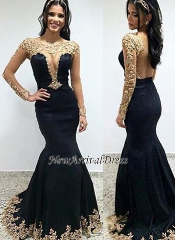 0446fb13ec7 Scoop Appliques Trumpet-Mermaid Floor-length Long-sleeves Evening Dress   Item Code  D153413449863527