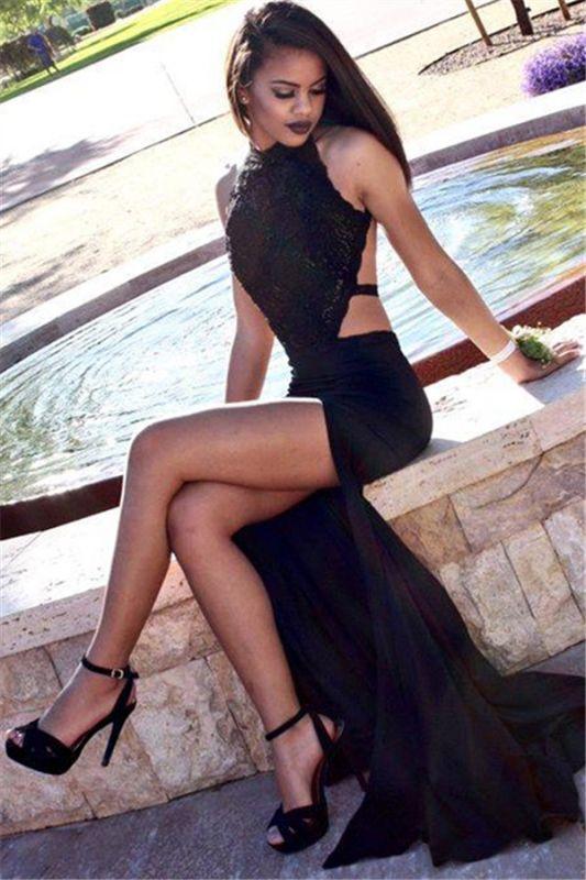 Side-Slit High Black Cutaway-Sides Sexy Backless Neck Mermaid Prom Dresses