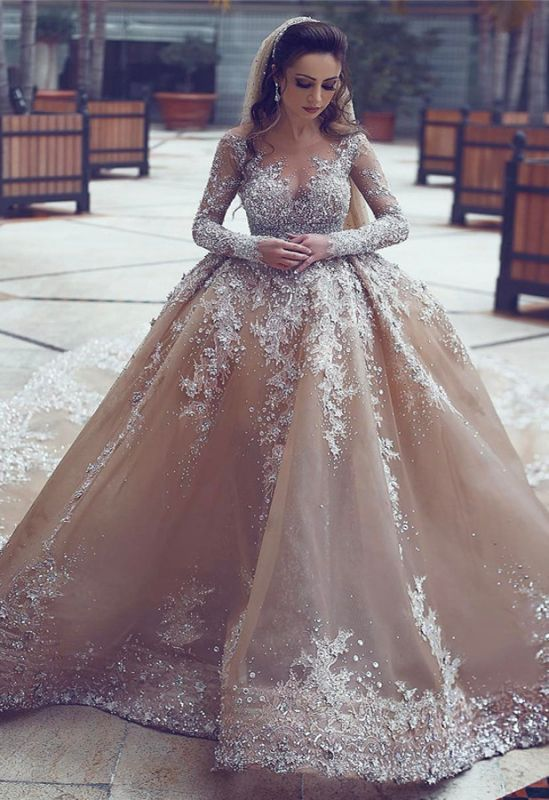 Sparkling Appliques Champagne Ball Gown Wedding Dresses |Luxurious Beads Sequins Long Sleeve Bridal Gowns