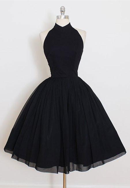 Modern Black High Neck Sleeveless Custom Made A-line Sexy Short Homecoming Dresses