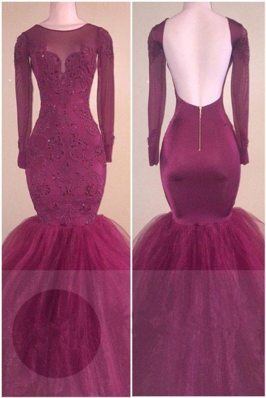 Mermaid Long Sleeve Elegant Open Back Appliques Tulle Prom Dresses Cheap