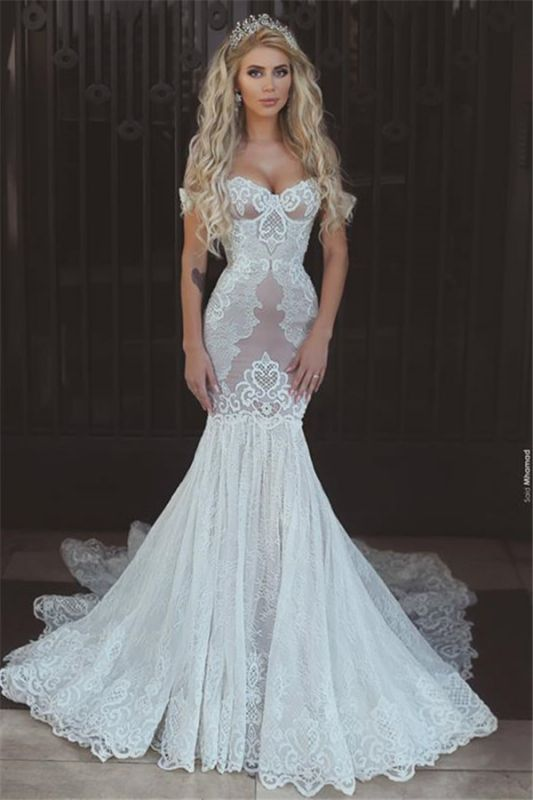 Mermaid Off The Shoulder Wedding Dresses Cheap   Sexy Open Back Lace Bridal Gowns BA7275