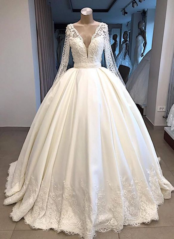 V-neck Long Sleeve Ball Gown Wedding Dress 2019 | Satin Beaded Lace Luxury Bridal Gowns Online