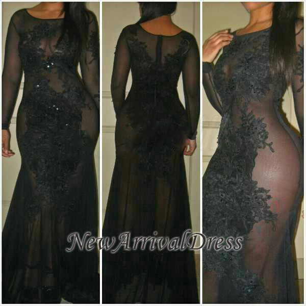 See-Through Sexy Mermaid Long-Sleeves Black Evening Dresses   Plus Size Prom Dress