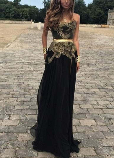 Gold Lace Applique Black Chiffon Prom Dresses Side Slit Golden Belt New Sexy Evening Gowns