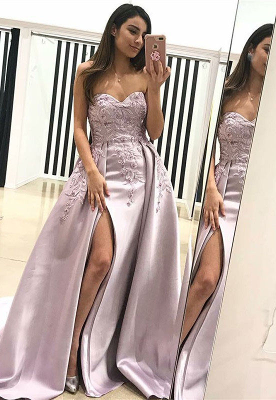 Gorgeous Sweetheart Evening Dress | 2019 Lace Appliques Prom Dress With Slit BA9853