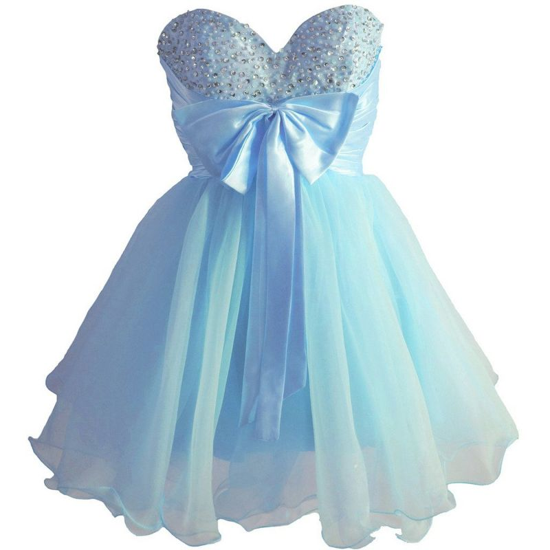 Sky Blue Beaded Short Homecoming Dresses Bowknot Mini Party Dresses
