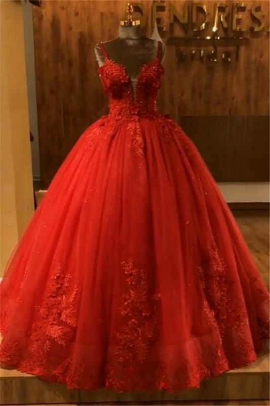 Red Straps Sleeveless Ball Gown Appliques Open Back Prom Dresses with Beading