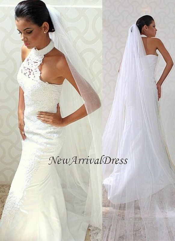 Chic Sexy Court Train Halter Mermaid Lace Sleeveless Wedding Dress