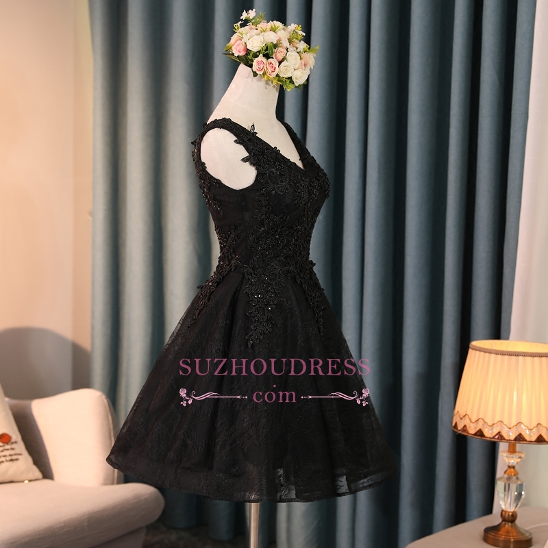 Lace Appliques New Arrival Black Custom Made A-line Beads Sexy Short Homecoming Dresses
