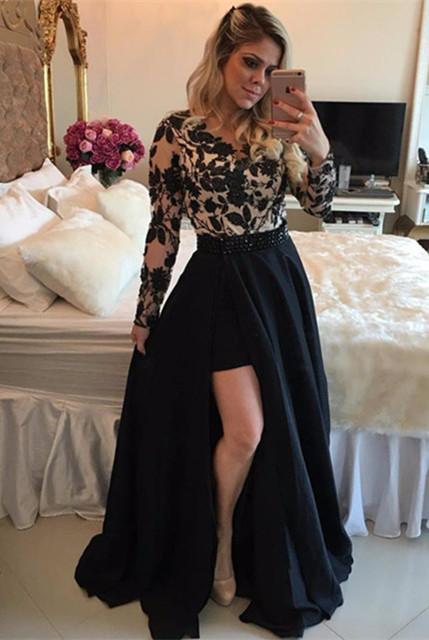 Sexy Black Long Sleeve Evening Dress | 2019 Lace Prom Dress On Sale