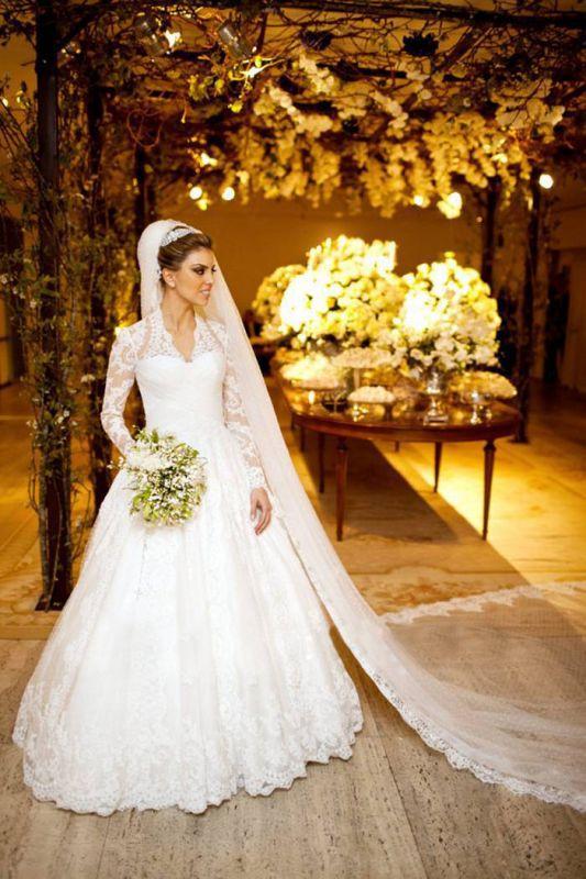 Vestidos De Noiva Long Sleeve Wedding Dresses Cheap | High Neck Vintage Lace A Line Bridal Gowns BO3590