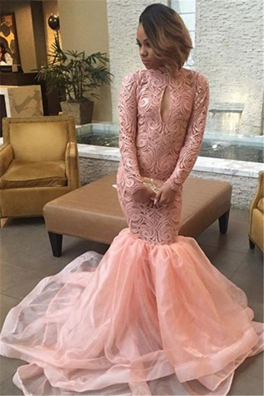 Keyhole Pink High-Neck Sexy Long-Sleeve Tulle Mermaid Prom Dress