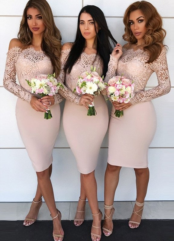 Newest Lace Off-the-shoulder Bodycon Bridesmaid Dress | Knee-length Bridesmaid Dress