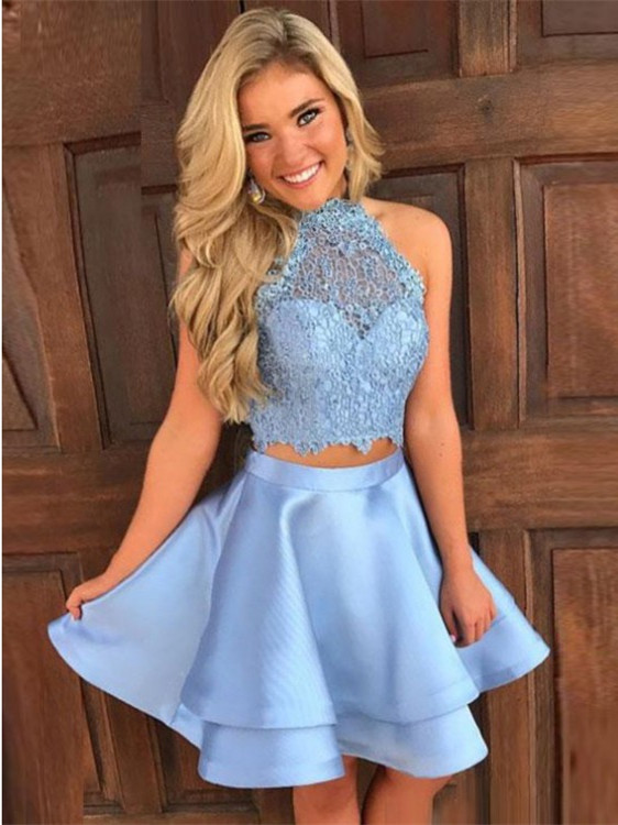 Modest Blue Lace Two Piece Homecoming Dress| High Neck Party Gown