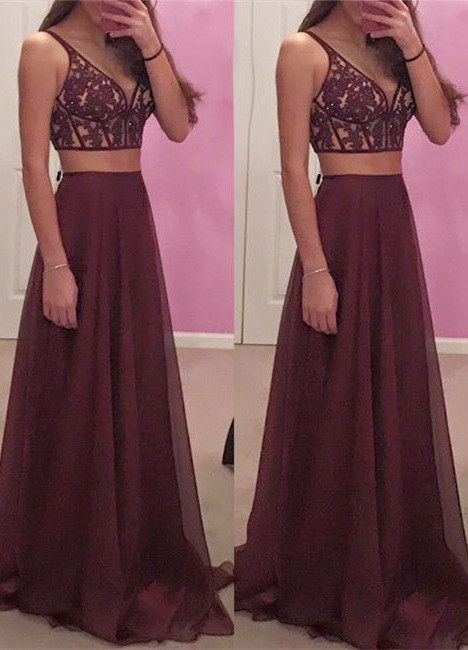 New Two Piece Spaghetti Strap A-line Long Prom Dress