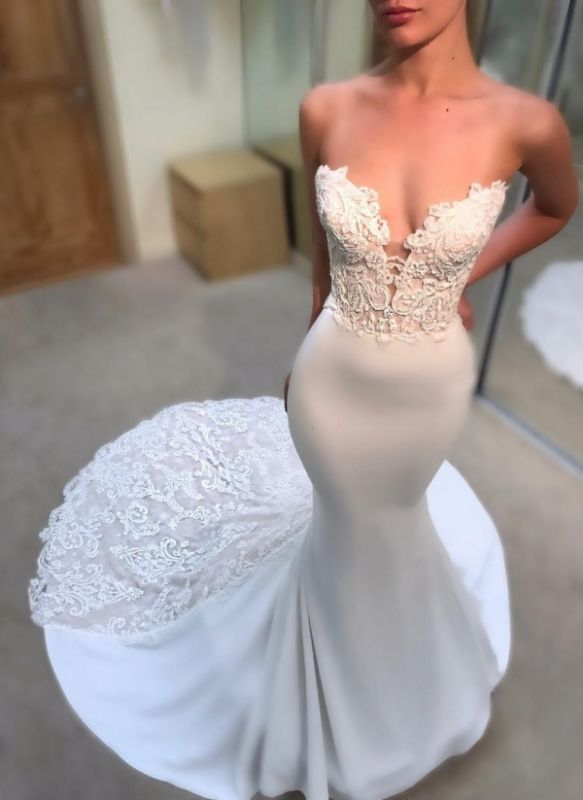 Simple Lace Appliques Mermaid Wedding Dresses | Sexy Sleeveless Long Court Train Bridal Gowns