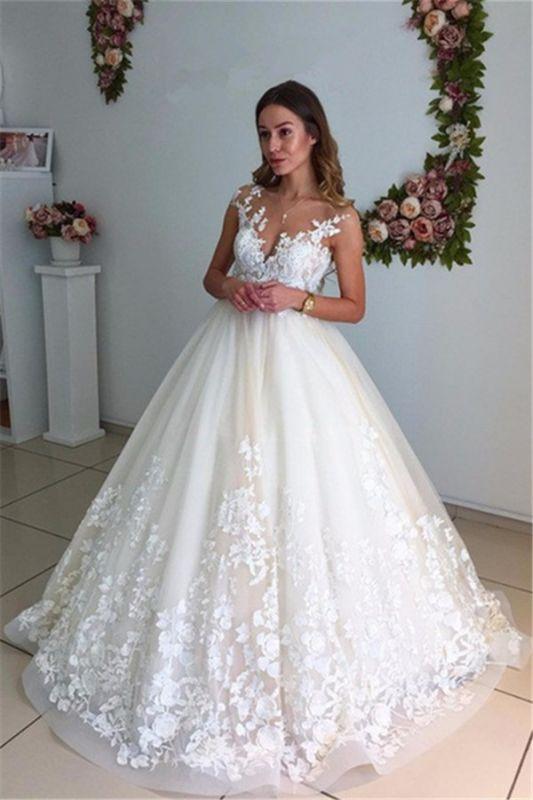 Appliques Backless A-Line Floor Length Lace Court Trian Wedding Dresses Cheap Online