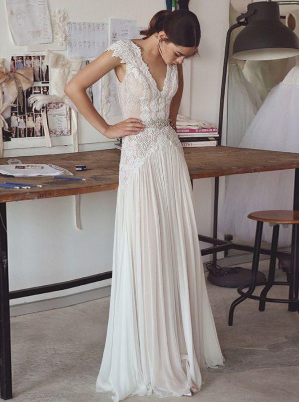 Chiffon Cap Sleeve Crystals Long Glamorous Wedding Dress Cheap