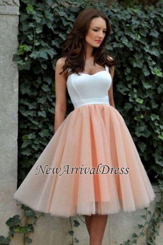 Pretty Knee-Length Straps Tulle Sleeveless Evening Dress